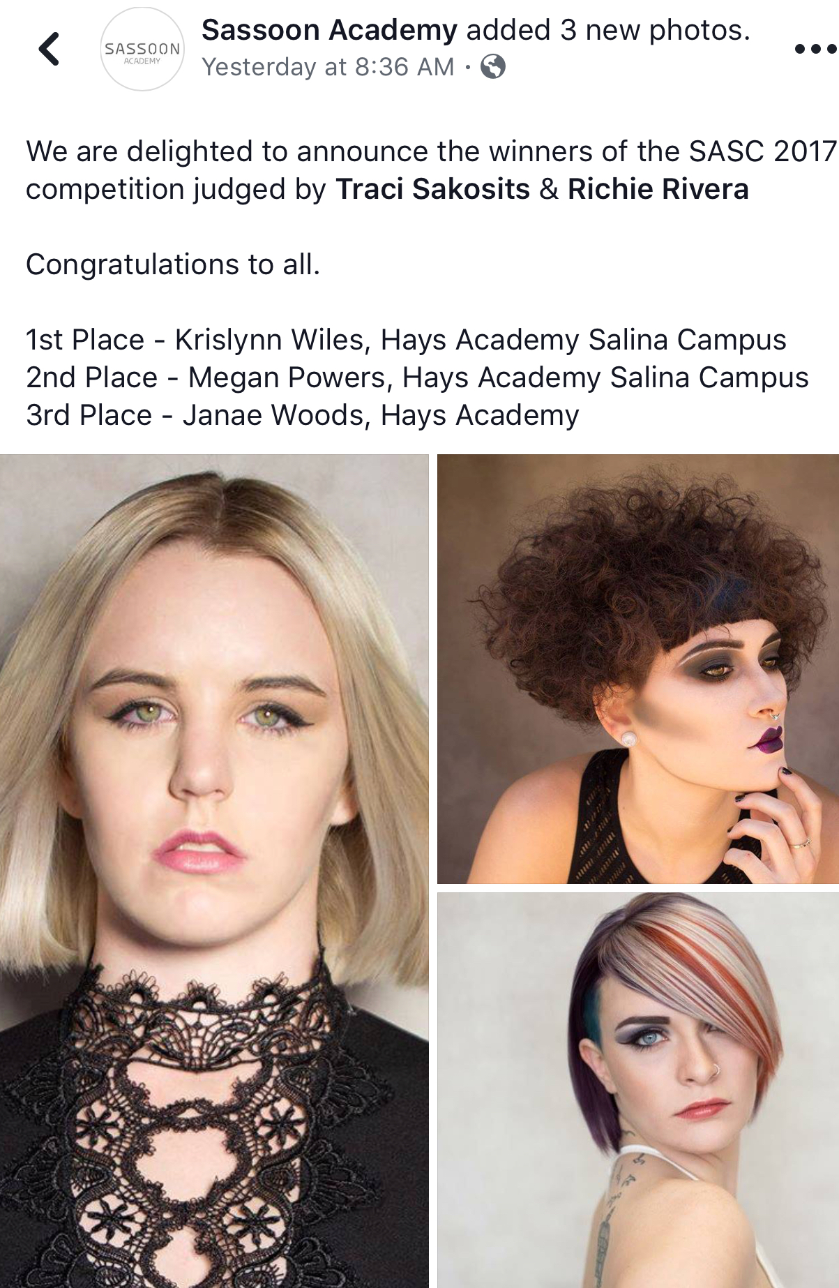 Sassoon Connection-Hays Academy places 1st, 2nd and 3rd - Hays ...